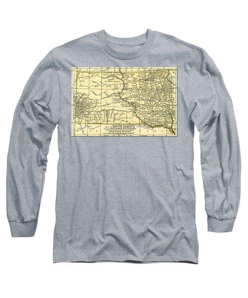 South Dakota Antique Map 1891 Long Sleeve T-Shirt