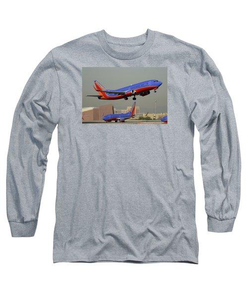 Southwest Boeing 737-3h4 N392sw Phoenix Sky Harbor December 2 2015 Long Sleeve T-Shirt by Brian Lockett