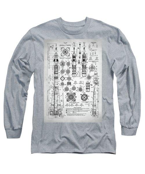 Long Sleeve T-Shirt featuring the digital art Soviet Rocket Schematics by Taylan Apukovska