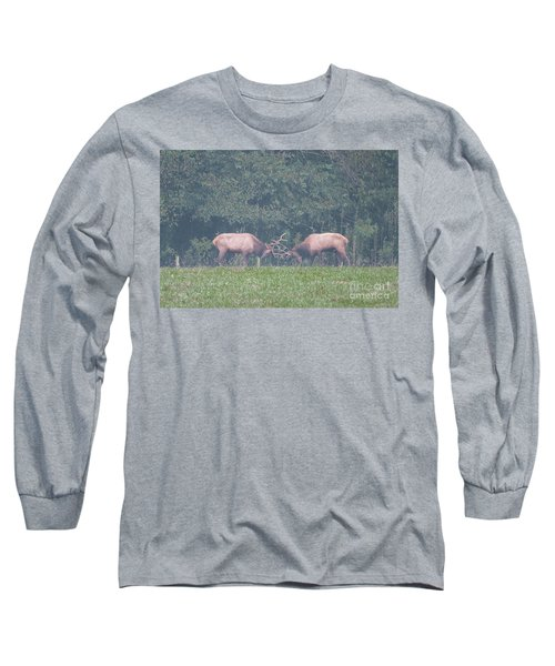 Sparking Elk On A Foggy Morning - 1957 Long Sleeve T-Shirt