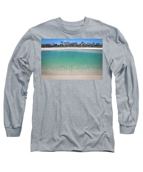 Sparkling Beach Lagoon On Deserted Beach Long Sleeve T-Shirt
