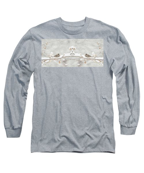 Long Sleeve T-Shirt featuring the photograph Sparrow In The Cherry Tree by Lila Fisher-Wenzel
