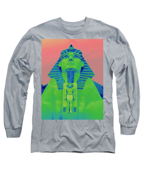 Sphinx And Pink Sky Long Sleeve T-Shirt by Karen J Shine