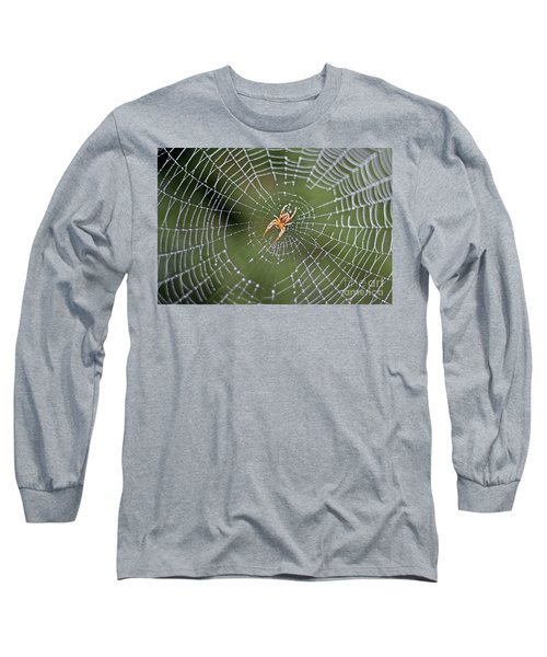 Spider In A Dew Covered Web Long Sleeve T-Shirt