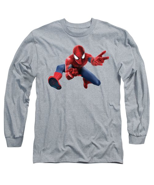 Long Sleeve T-Shirt featuring the mixed media Spider Man Splash Super Hero Series by Movie Poster Prints