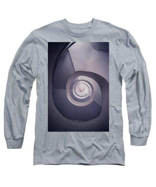 Spiral Staircase In Plum Tones Long Sleeve T-Shirt by Jaroslaw Blaminsky