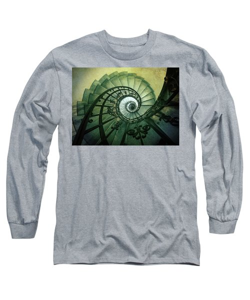 Long Sleeve T-Shirt featuring the photograph Spiral Stairs In Green Tones by Jaroslaw Blaminsky