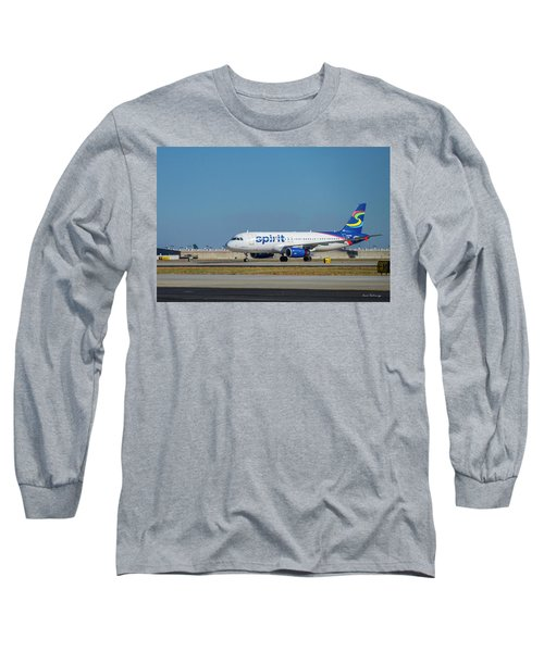 Long Sleeve T-Shirt featuring the photograph Spirit Airlines Airbus A320 N608nk Airplane Art by Reid Callaway