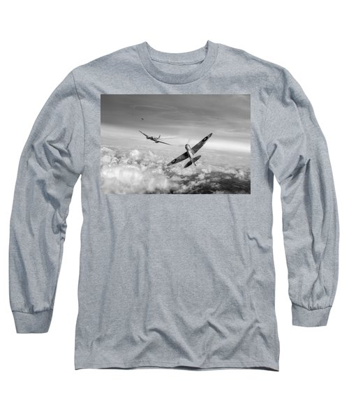 Long Sleeve T-Shirt featuring the photograph Spitfire Attacking Heinkel Bomber Black And White Version by Gary Eason