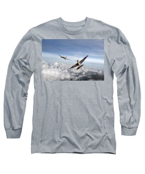 Spitfire Attacking Heinkel Bomber Long Sleeve T-Shirt by Gary Eason
