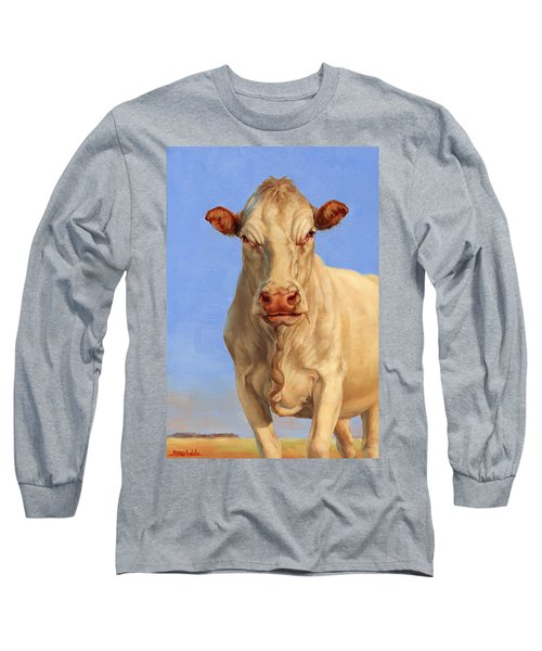 Long Sleeve T-Shirt featuring the painting Spooky Cow by Margaret Stockdale