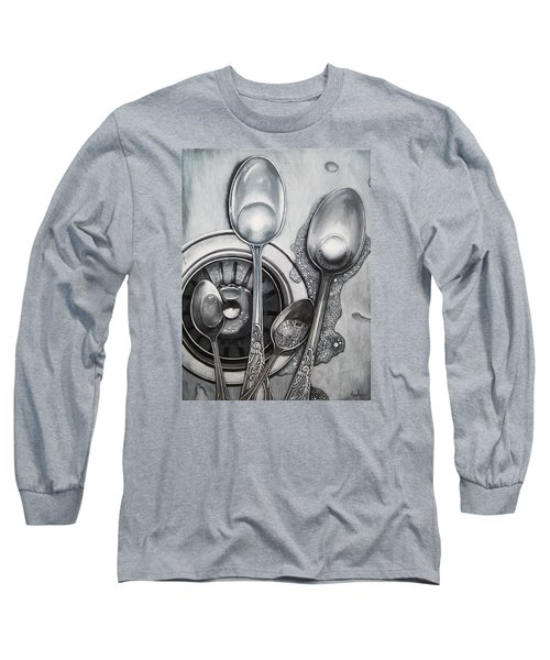 Spoons And Stainless Steel Realistic Still Life Painting Long Sleeve T-Shirt by Linda Apple