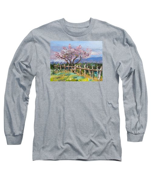Spring Blossom Pallet Knife Painting Long Sleeve T-Shirt by Lisa Boyd