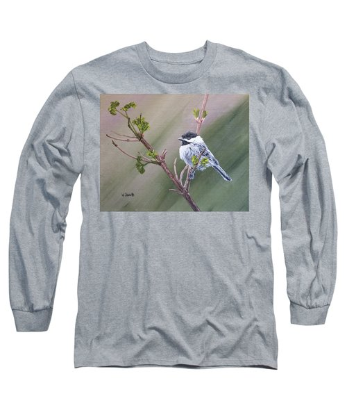 Spring Chickadee Long Sleeve T-Shirt by Wendy Shoults