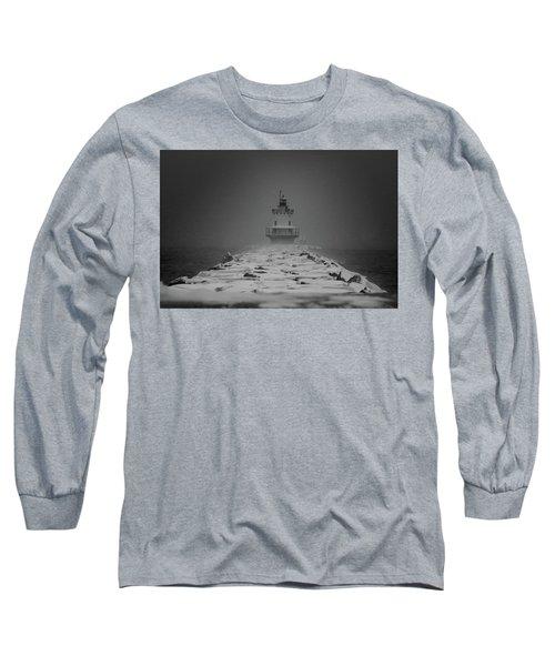 Spring Point Ledge Lighthouse Blizzard In Black N White Long Sleeve T-Shirt