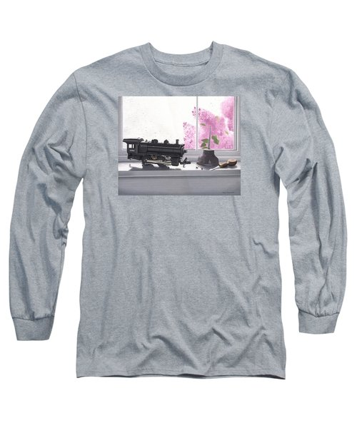 Long Sleeve T-Shirt featuring the painting Spring Rain  Electric Train by Gary Giacomelli
