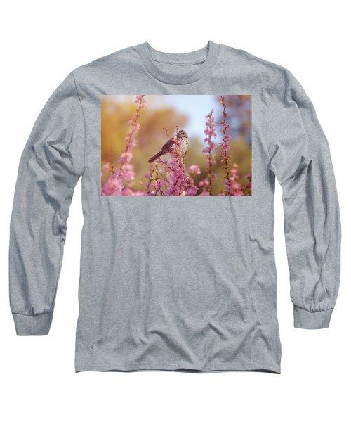 Spring Sparrow Long Sleeve T-Shirt by Lynn Bauer