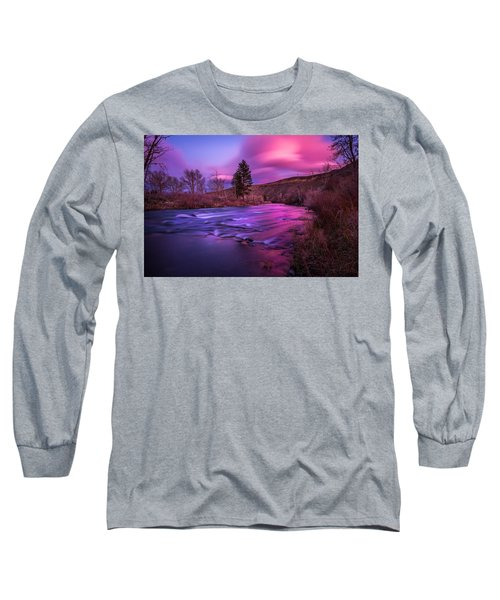 Spring Sunset Along The Truckee River Reno Nevada Long Sleeve T-Shirt by Scott McGuire
