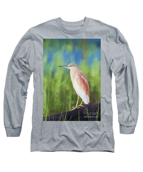Squacco Heron Ardeola Ralloides Long Sleeve T-Shirt by Liz Leyden