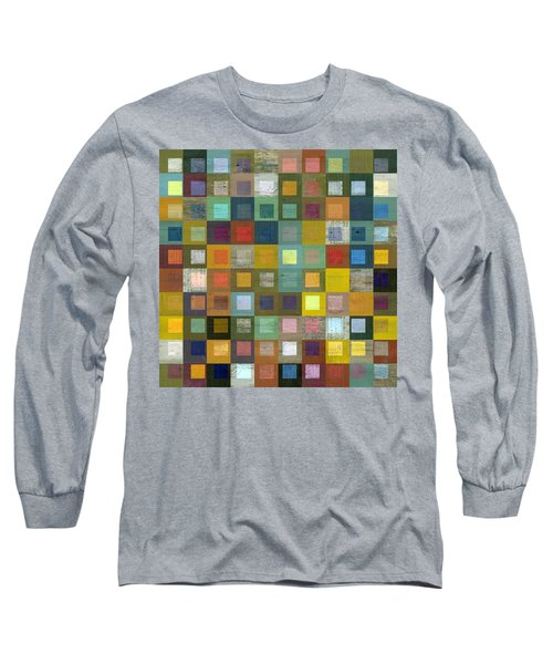 Squares In Squares Five Long Sleeve T-Shirt by Michelle Calkins
