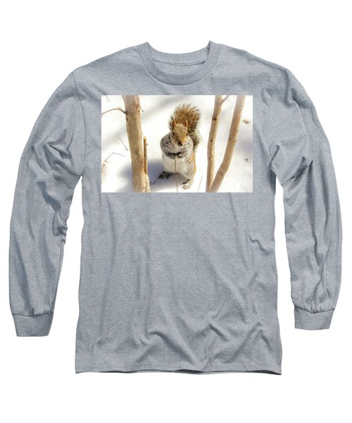 Squirrel In Snow Long Sleeve T-Shirt
