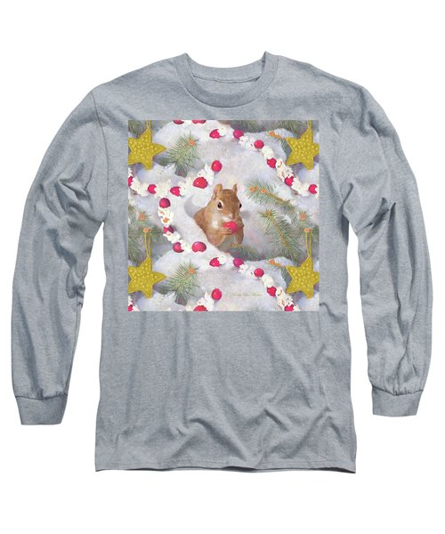 Squirrel In Snow With Cranberries Long Sleeve T-Shirt