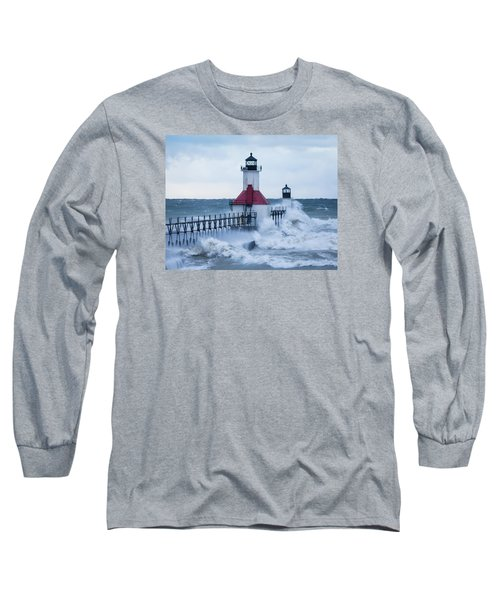 St. Joseph Lighthouse With Waves Long Sleeve T-Shirt