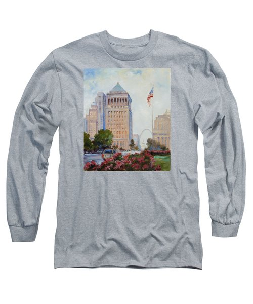 St. Louis Civil Court Building And Market Street Long Sleeve T-Shirt by Irek Szelag