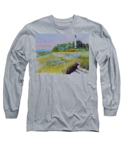 St. Marks Lighthouse Beachfront Long Sleeve T-Shirt by Warren Thompson
