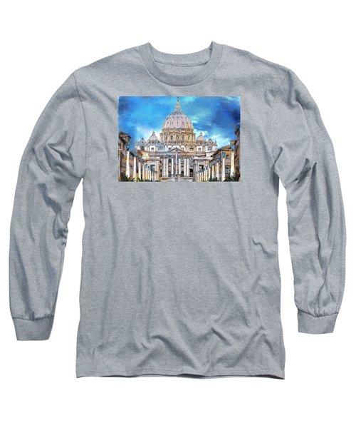 St. Peter's Basilica Long Sleeve T-Shirt by Andrzej Szczerski