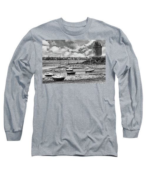Long Sleeve T-Shirt featuring the photograph St. Servan Anse At Low Tide by Elf Evans