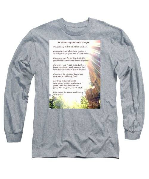 St Therese Of Lisieux Prayer And True Light Lower Emerald Pools Zion Long Sleeve T-Shirt by Heather Kirk