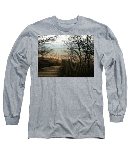 Long Sleeve T-Shirt featuring the photograph Stairs To The Beach In Winter by Michelle Calkins