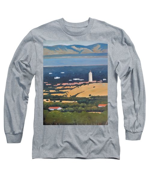 Long Sleeve T-Shirt featuring the painting Stanford From Hills by Gary Coleman