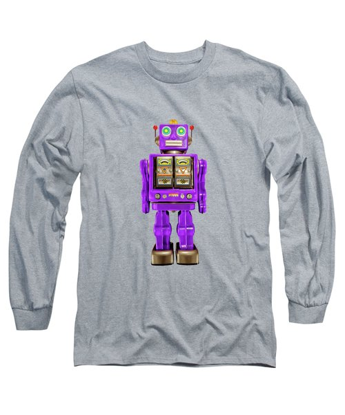 Star Strider Robot Purple On Black Long Sleeve T-Shirt by YoPedro