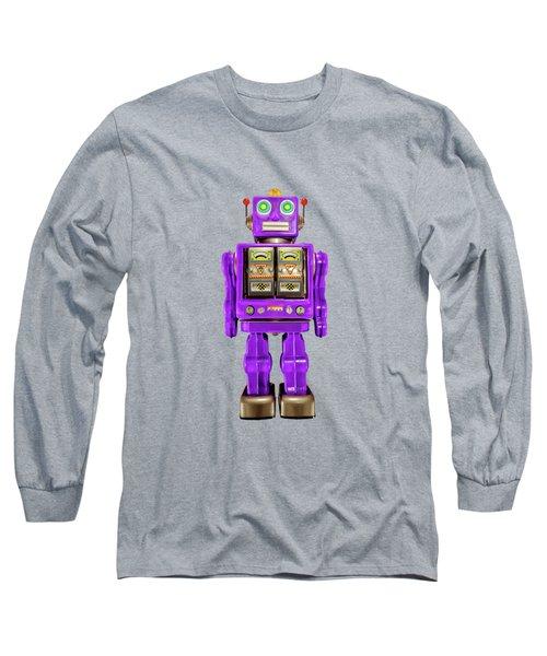 Star Strider Robot Purple On Black Long Sleeve T-Shirt