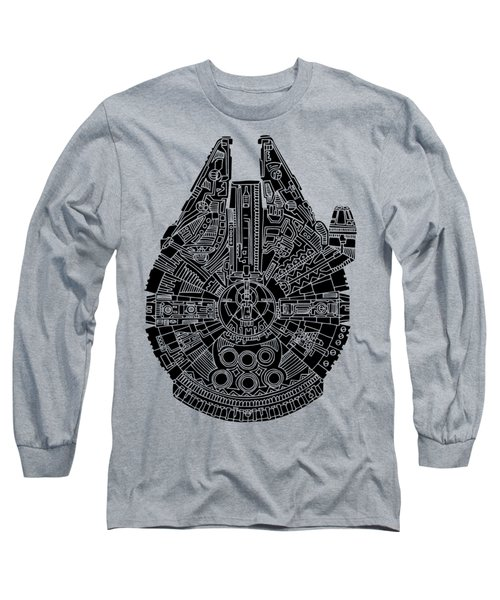 Star Wars Art - Millennium Falcon - Black Long Sleeve T-Shirt