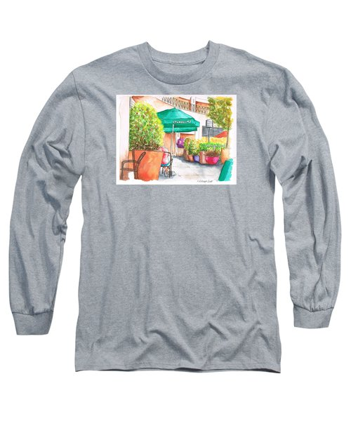 Starbucks Coffee, Sunset Blvd, And Cresent High, West Hollywood, Ca Long Sleeve T-Shirt by Carlos G Groppa