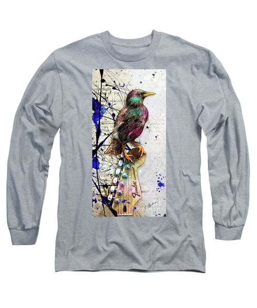 Starling On A Strat Long Sleeve T-Shirt by Gary Bodnar