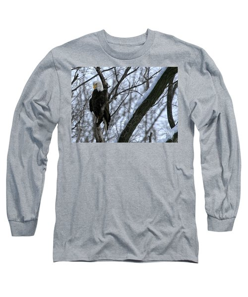 Starved Rock Eagle Long Sleeve T-Shirt by Paula Guttilla