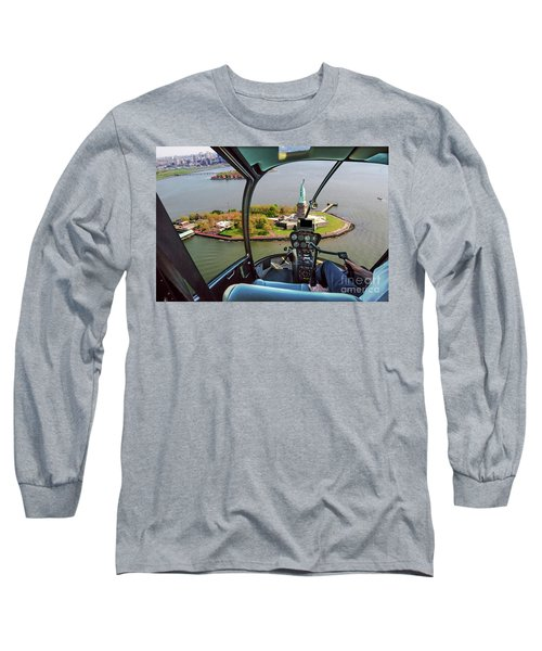 Statue Of Liberty Helicopter Long Sleeve T-Shirt