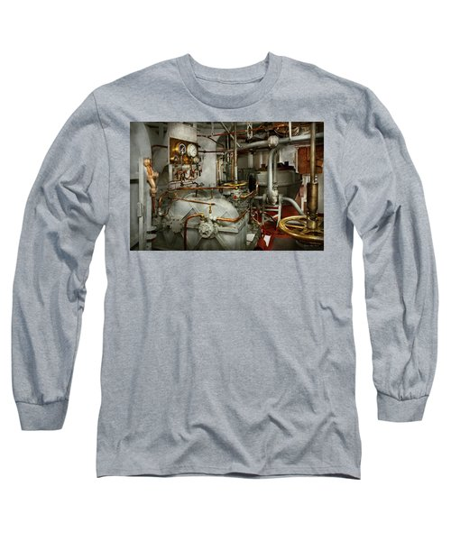 Long Sleeve T-Shirt featuring the photograph Steampunk - In The Engine Room by Mike Savad