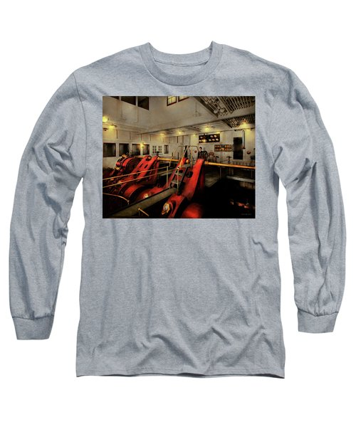 Long Sleeve T-Shirt featuring the photograph Steampunk - Man The Controls 1908 by Mike Savad