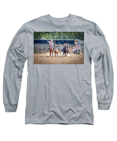 Long Sleeve T-Shirt featuring the photograph Steer Wrestling With An Audience by Darcy Michaelchuk