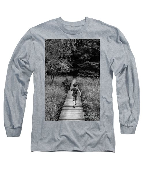Long Sleeve T-Shirt featuring the photograph Stepping Into Adventure - D009927-bw by Daniel Dempster
