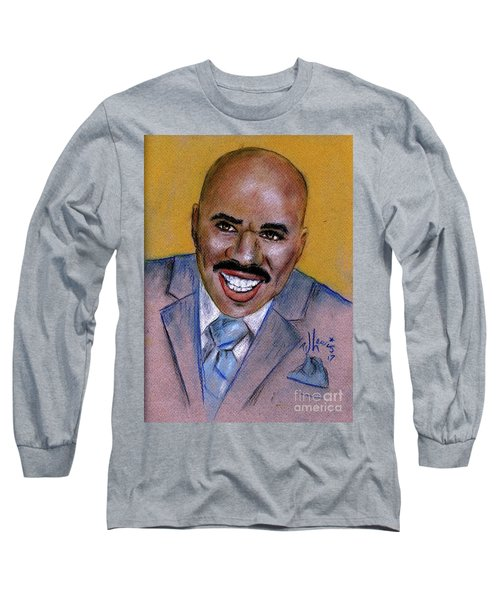 Long Sleeve T-Shirt featuring the drawing Steve Harvey by P J Lewis