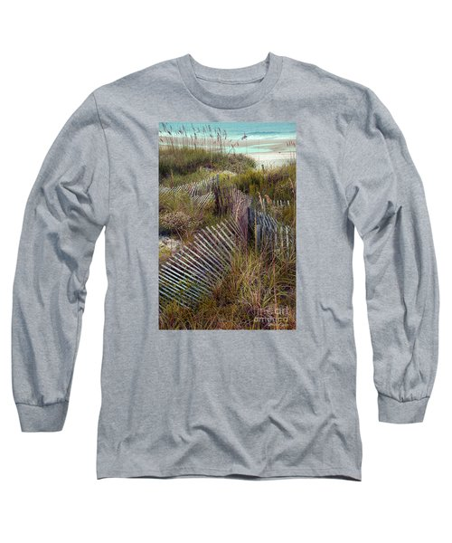 Long Sleeve T-Shirt featuring the photograph Stick Fence Ocean by Linda Olsen