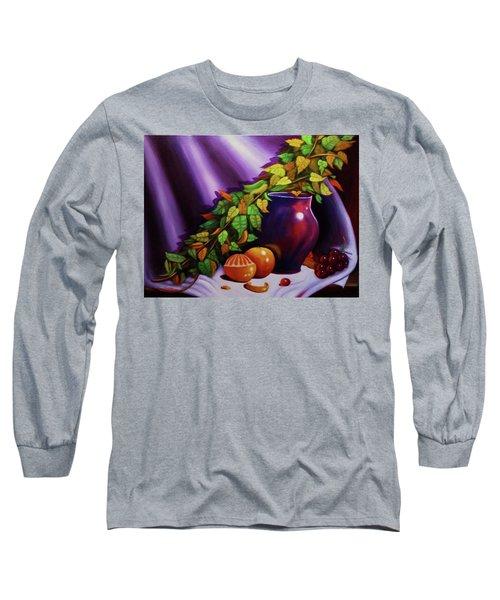 Still Life W/purple Vase Long Sleeve T-Shirt by Gene Gregory