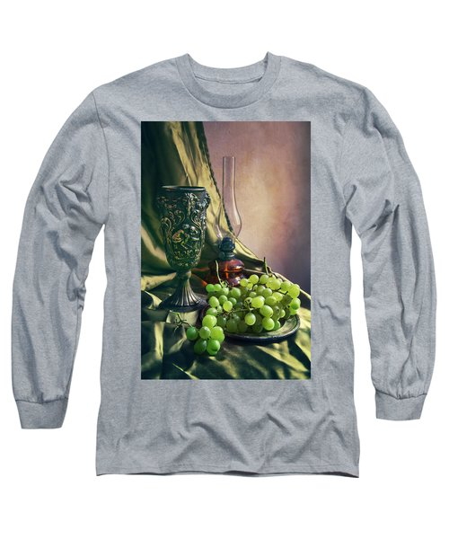 Long Sleeve T-Shirt featuring the photograph Still Life With Green Grapes by Jaroslaw Blaminsky