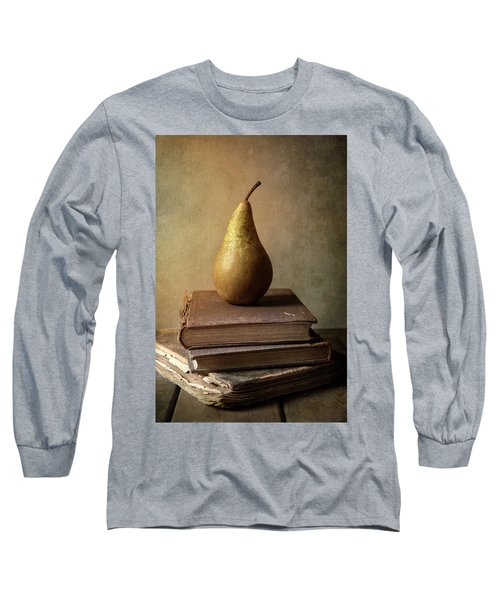 Long Sleeve T-Shirt featuring the photograph Still Life With Old Books And Fresh Pear by Jaroslaw Blaminsky